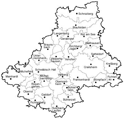 Landkreis Schwabisch Hall Kreiskarte